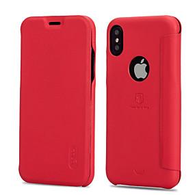 abordables Coques d'iPhone-Lenuo Coque Pour Apple iPhone X / iPhone 8 / iPhone XS Porte Carte / Antichoc / Clapet Coque Intégrale Couleur Pleine Dur faux cuir pour iPhone XS / iPhone XR / iPhone XS Max