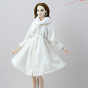 cheap Toy & Game-Coats Coat For Barbiedoll White Flannel Toison Coat For Girl's Doll Toy