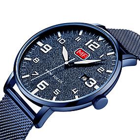 Недорогие Фирменные часы-MINI FOCUS Муж. Повседневные часы Японский Кварцевый Крупногабаритные Нержавеющая сталь Черный / Синий / Серебристый металл Календарь Фосфоресцирующий Повседневные часы Аналоговый Мода Cool Aristo -