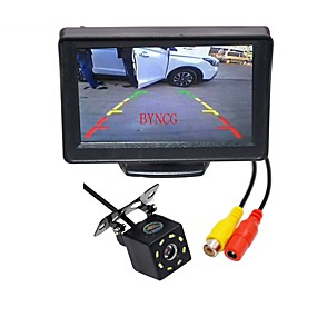voordelige Auto-elektronica-BYNCG WG4.3T-8LED 4,3inch TFT-LCD 480TVL 480p 1/4 tuuman CMOS PC7030 Bekabeld 120 graden 1pcs 120° 0.3inch Car Rear View Kit LED-indicator