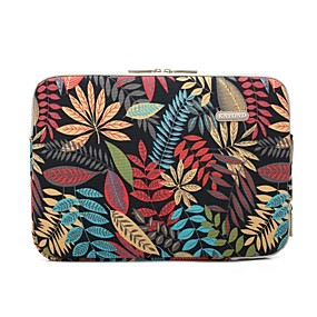 "cheap Daily Deals-11.6"" 13.3"" 14"" 15.6"" Plant Leaf Pattern Laptop Sleeves Canvas for Macbook/Surface/HP/Dell/Samsung/Sony Etc"