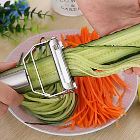 お買い得  キッチン&ダイニング-キッチンアクセサリークッキングツール多機能ステンレス鋼ジュリアンピーラー野菜ピーラーダブルプレーニングおろし金