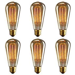 billige Glødelamper-brelong 6 stk e27 40w st64 dimmable edison dekorative pære varm hvid