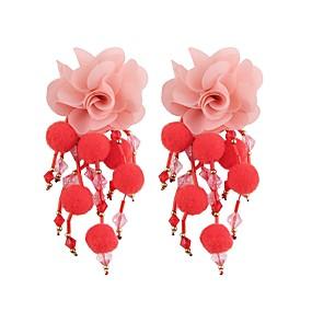 tanie Biżuteria kwiatowa-Kolczyki drop Frędzel Długie Kwiatowe / Roślinne Kwiat damska Słodkie Moda Kolczyki Biżuteria Czerwony / Zielony / Jasnoniebieski Na Party Wieczór Praca