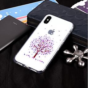 halpa iPhone kotelot-Etui Käyttötarkoitus Apple iPhone X / iPhone 8 IMD / Läpinäkyvä / Kuvio Takakuori Puu Pehmeä TPU varten iPhone X / iPhone 8 Plus / iPhone 8