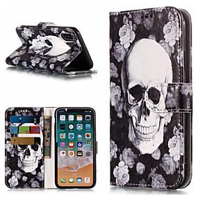 ราคาถูก เคสสำหรับ iPhone-Case สำหรับ Apple iPhone X / iPhone 8 Plus Wallet / Card Holder / with Stand ตัวกระเป๋าเต็ม กระโหลก Hard หนัง PU สำหรับ iPhone X / iPhone 8 Plus / iPhone 8