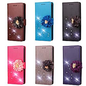 cheap LG-Case For LG V30 / V20 Wallet / Card Holder / Rhinestone Full Body Cases Solid Colored / Flower Hard PU Leather for LG V30 / LG V20 / LG L70