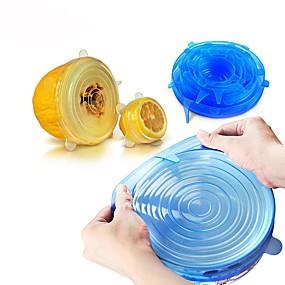 povoljno Kuhijnski alati-6pcs univerzalni silikon za zamotavanje hrane poklopac-zdjelu silikon poklopac pan kuhinje vakuum poklopac brtvilo