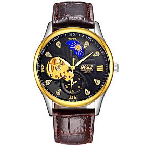voordelige Merk Horloge-BOSCK Heren mechanische horloges Automatisch opwindmechanisme Leer Bruin 30 m Waterbestendig Hol Gegraveerd s Nachts oplichtend Analoog Luxe Skelet - Wit Zwart Goud