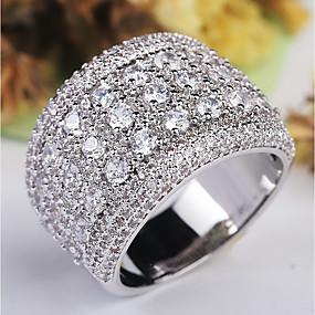 preiswerte Schmuck & Uhren-Damen Ring / Micro Pave Ring 1pc Silber Kupfer / Platiert / Diamantimitate damas / Klassisch / Hyperbel Hochzeit / Party / Maskerade Modeschmuck / Stern