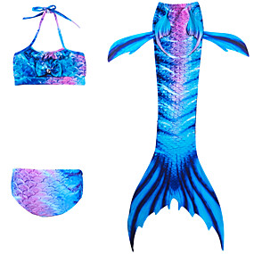 cheap Girls' Swimwear-Kids Girls' Active Sports Mermaid Tail The Little Mermaid Color Block Sleeveless Cotton Polyester Swimwear Blue