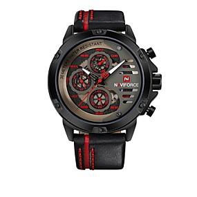 זול שעוני מותגים-NAVIFORCE בגדי ריקוד גברים שעוני ספורט שעון יד Japanese קוורץ יפני עור אמיתי שחור 30 m עמיד במים לוח שנה שעונים יום יומיים אנלוגי יום יומי אופנתי - שחור / אדום שחור / צהוב