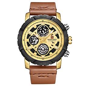 Недорогие Фирменные часы-NAVIFORCE Муж. Спортивные часы Наручные часы Японский Японский кварц Натуральная кожа Синий / Коричневый 30 m Защита от влаги Календарь Cool Аналоговый На каждый день Мода - Коричневый Синий