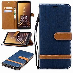 voordelige Galaxy A3(2016) Hoesjes / covers-hoesje Voor Samsung Galaxy A6 (2018) / A6+ (2018) / A3 (2017) Portemonnee / Kaarthouder / met standaard Volledig hoesje Effen Hard tekstiili