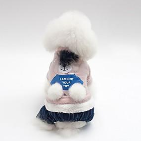 billige Kæledyr, Legetøj og hobbyartikler-Hunde Frakker Hundetøj Dyr Figurer Grå Lys pink Bomuld Kostume Til Bulldog Shiba Inu Mops Efterår Vinter Unisex Opvarmninger minimalistisk stil