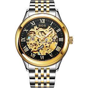 voordelige Merk Horloge-Angela Bos Heren Skeleton horloge mechanische horloges Automatisch opwindmechanisme Roestvrij staal Goud 30 m Waterbestendig Vrijetijdshorloge Analoog Informeel Modieus - Goud / Zwart Goud / White