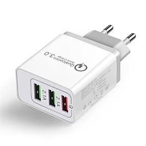 billige Hurtigladere-Cwxuan Lille og mobil oplader USB oplader EU Stik Multi-udgange / QC 3.0 3 USB-porte 2.1 A 100~240 V for iPhone X / iPhone 8 Plus / iPhone 8