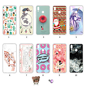 billige Trendy topvalg-Etui Til Huawei P20 lite Støvsikker / Ultratyndt / Mønster Bagcover Flamingo / Jul / Farvegradient Blødt TPU for Huawei P20 lite