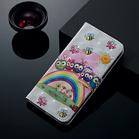 voordelige Galaxy S7 Edge Hoesjes / covers-hoesje Voor Samsung Galaxy S9 / S9 Plus / S8 Plus Kaarthouder / met standaard / Flip Volledig hoesje Kat Hard PU-nahka