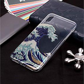 abordables Coques d'iPhone-cas pour apple iphone xr xs xs max motif / paillettes briller couverture arrière paysage soft tpu pour iphone x 8 8 plus 7 7plus 6s 6s plus se 5 5s