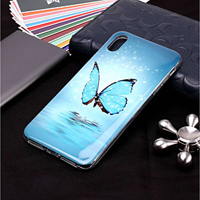 abordables Coques d'iPhone-Coque Pour Apple iPhone XR / iPhone XS Max Phosphorescent / Motif Coque Papillon Flexible TPU pour iPhone XS / iPhone XR / iPhone XS Max