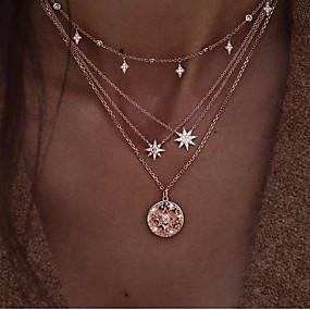 8066b1de19a9 abordables Collares a Capas-Mujer Claro Cristal Multi capa Collares en  capas Brillante Sol Estrella
