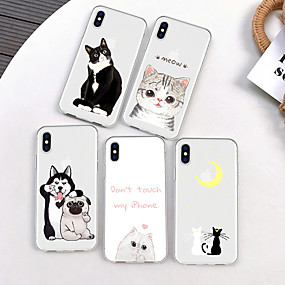 abordables Coques d'iPhone-Coque Pour Apple iPhone XR / iPhone XS Max Motif Coque Chat / Chien / Bande dessinée Flexible TPU pour iPhone XS / iPhone XR / iPhone XS Max