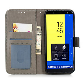 voordelige Galaxy J3 Hoesjes / covers-hoesje Voor Samsung Galaxy J8 (2018) / J7 (2017) / J6 (2018) Portemonnee / Kaarthouder / met standaard Volledig hoesje Fruit / Bloem Hard PU-nahka