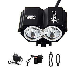 Χαμηλού Κόστους Φακοί, φανάρια και φωτιστικά-Φακοί Κεφαλιού Φώτα Ποδηλάτου LED Cree® T6 2 Εκτοξευτές 3000 lm 4.0 τρόπος φωτισμού με μπαταρία και φορτιστή Αδιάβροχη Επαναφορτιζόμενο Έκτακτη Ανάγκη Ποδηλασία
