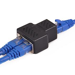 abordables Accesorios para Tablet y PC-1 a 2 vías lan cable de red ethernet rj45 a rj45 adaptador hembra - adaptador de conector divisor hembra