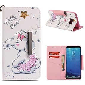 voordelige Galaxy S7 Hoesjes / covers-hoesje Voor Samsung Galaxy S9 / S9 Plus / S8 Plus Portemonnee / Kaarthouder / Schokbestendig Volledig hoesje Olifant Hard PU-nahka