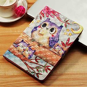 voordelige Galaxy Tab E 9.6 Hoesjes / covers-hoesje Voor Samsung Galaxy Tab S4 10.5 (2018) / Tab A2 10.5(2018) T595 T590 / Tab E 9.6 Portemonnee / Kaarthouder / met standaard Volledig hoesje Uil Hard PU-nahka