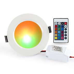 billige Downlights-1pc 10 W 900-1000 lm 10 LED Perler Fjernbetjening Dæmpbar Let Instalation LED nedlys RGB + Hvid 85-265 V Kommercielt Hjem / kontor Stue / spisestue