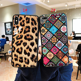 olcso iPhone 7 Plus tokok-Case Kompatibilitás Apple iPhone XR / iPhone XS Max Minta Fekete tok Leopárd minta / Virág Puha Silica Gel mert iPhone XS / iPhone XR / iPhone XS Max