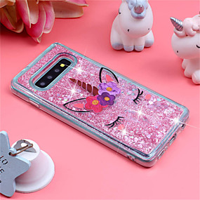 cheap Galaxy S Series Cases / Covers-Case For Samsung Galaxy Galaxy S10 Plus / Galaxy S10 E Shockproof / Flowing Liquid / Pattern Back Cover Unicorn / Glitter Shine Soft TPU for S9 / S9 Plus / S8 Plus
