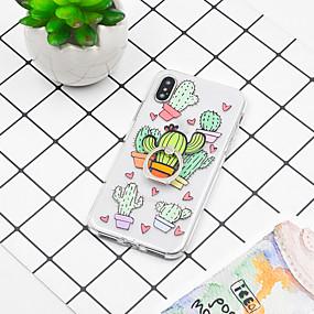 olcso iPhone tokok-Case Kompatibilitás Apple iPhone XR / iPhone XS Max Tartó gyűrű / Minta Fekete tok Növények / Rajzfilm Puha TPU mert iPhone XS / iPhone XR / iPhone XS Max