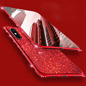 abordables Coques d'iPhone-Coque Pour Apple iPhone XR / iPhone XS Max Strass / Plaqué Coque Brillant / Strass Flexible TPU pour iPhone XS / iPhone XR / iPhone XS Max