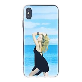 olcso Cool & Fashion tokok iPhone-hoz-Case Kompatibilitás Apple iPhone XR / iPhone XS Max Ütésálló / Folyékony / Ultra-vékeny Fekete tok Szexi lány Puha TPU mert iPhone XS / iPhone XR / iPhone XS Max