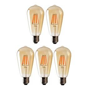 Χαμηλού Κόστους Λαμπτήρες LED με νήμα πυράκτωσης-5pcs 8 W LED Λάμπες Πυράκτωσης 720 lm E26 / E27 ST64 8 LED χάντρες COB Με ροοστάτη Θερμό Λευκό 220-240 V 110-130 V / RoHs