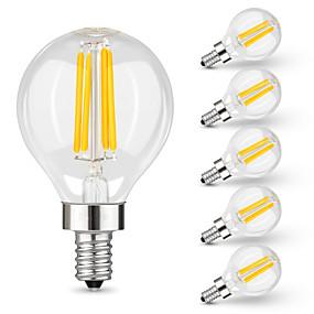 Χαμηλού Κόστους Λαμπτήρες LED με νήμα πυράκτωσης-6pcs 4 W LED Λάμπες Πυράκτωσης 400 lm E14 G45 4 LED χάντρες LED Υψηλης Ισχύος Διακοσμητικό Θερμό Λευκό 220 V 110 V