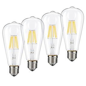 Χαμηλού Κόστους Λαμπτήρες LED με νήμα πυράκτωσης-4pcs 6 W LED Λάμπες Πυράκτωσης 540 lm E26 / E27 ST64 6 LED χάντρες COB Με ροοστάτη Θερμό Λευκό Ψυχρό Λευκό 220-240 V / RoHs