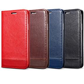 voordelige Galaxy S6 Edge Plus Hoesjes / covers-hoesje Voor Samsung Galaxy S9 / S9 Plus / S8 Plus Kaarthouder / Flip Volledig hoesje Effen Hard PU-nahka