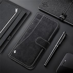 voordelige Galaxy S7 Hoesjes / covers-hoesje Voor Samsung Galaxy S9 / S9 Plus / S8 Plus Kaarthouder / met standaard / Magnetisch Volledig hoesje Effen Hard PU-nahka