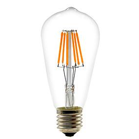 Χαμηλού Κόστους Λαμπτήρες LED με νήμα πυράκτωσης-1pc 6 W LED Λάμπες Πυράκτωσης 560 lm E26 / E27 ST64 6 LED χάντρες COB Διακοσμητικό Θερμό Λευκό Ψυχρό Λευκό 220-240 V