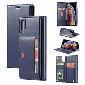 abordables Coques d'iPhone-étui pour apple iphone xr / iphone xs max magnétique / avec support / antichoc corps entier caisse solide en cuir PU dur coloré pour iphone x / xs / 8 plus / 8 / 7plus / 7/6 / 6s plus