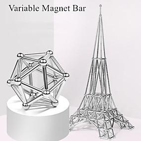 abordables Juguetes Novedosos-63 pcs Juguetes Magnéticos Bolas magnéticas Palos magnéticos Bloques de Construcción Imanes magnéticos superfuertes Imán de Neodimio Imán de Neodimio Metálico Magnética Alivio del estrés y la