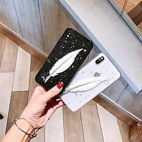 abordables Coques d'iPhone-Coque Pour Apple iPhone XS Max / iPhone 6 Motif / Brillant Coque Plumes / Brillant Flexible Silicone pour iPhone XS / iPhone XR / iPhone XS Max