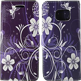 Недорогие Чехлы и кейсы для Galaxy S5 Mini-Кейс для Назначение SSamsung Galaxy S8 / S7 / S5 Mini Бумажник для карт / Флип Чехол Однотонный / Цветы Твердый Кожа PU