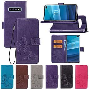 Недорогие Чехлы и кейсы для Galaxy S5 Mini-Кейс для Назначение SSamsung Galaxy S9 / S9 Plus / S8 Plus Кошелек / со стендом / Флип Чехол Однотонный / Бабочка / Цветы Твердый Кожа PU
