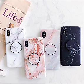 olcso iPhone tokok-Case Kompatibilitás Apple iPhone X / iPhone 8 / iPhone 8 Plus Állvánnyal Fekete tok Márvány Puha Műanyag mert iPhone XS / iPhone XR / iPhone XS Max